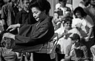 Japanese Dancer, Nisei Week 2001 Grand Parade, Little Tokyo, Los Angeles, California. Nikon N90s, Ilford HP5+ BW 35mm film.