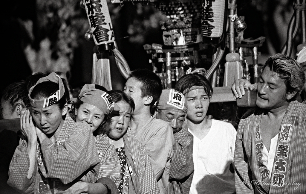 Shrine (mikoshi) Bearers, Nisei Week 2001 Grand Parade, Little Tokyo, Los Angeles, California. Ilford HP5+ 35mm BW film.