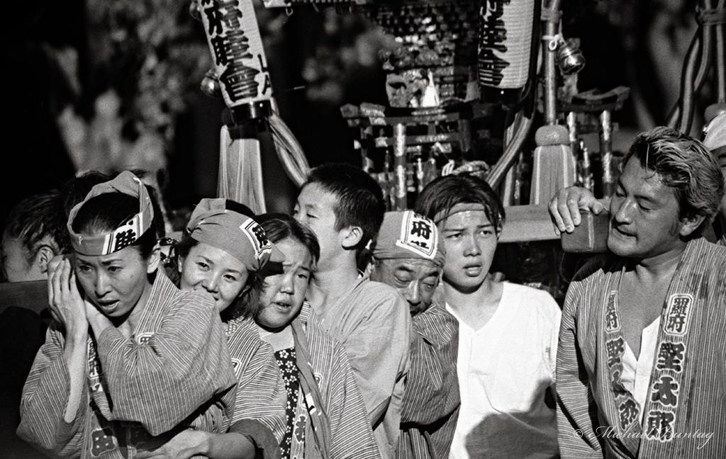Shrine (mikoshi) Bearers, Nisei Week 2001 Grand Parade, Little Tokyo, Los Angeles, California. Ilford HP5+ 35mm BW film.