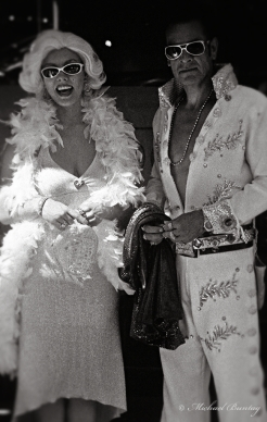 Marilyn Monroe and Elvis Presley Cosplay, Grauman's Chinese Theatre, Hollywood, Los Angeles, California. Ilford Delta 3200 35mm BW film