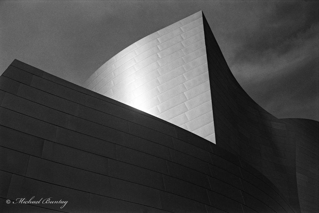 Walt Disney Concert Hall, Performing Arts Center, Los Angeles County, California. Ilford FP4+ 35mm BW film