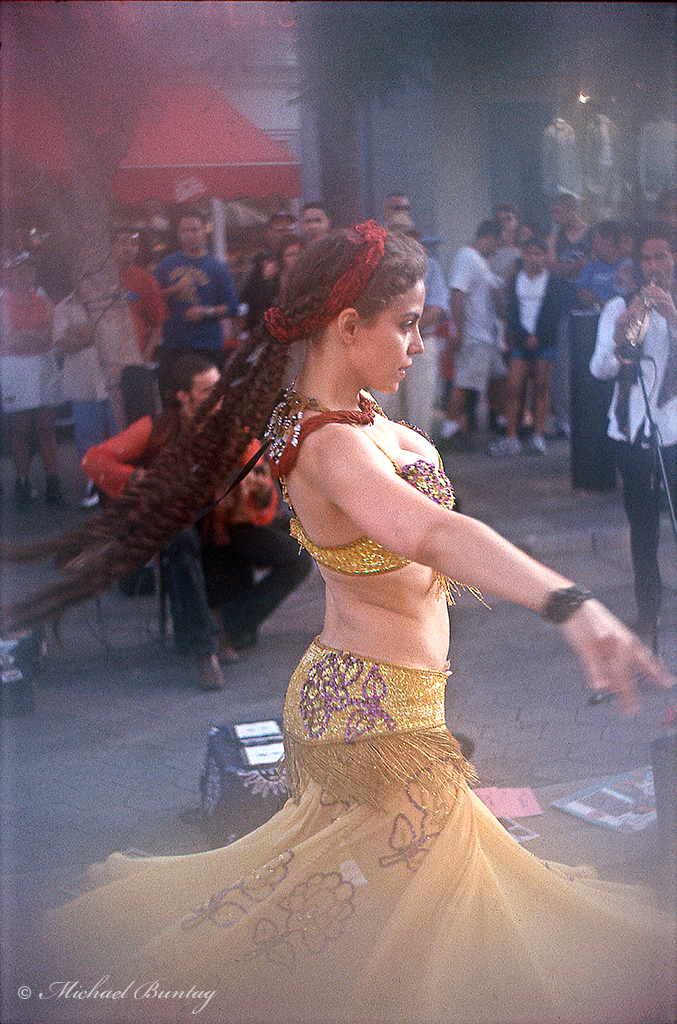 Gypsy Belly Dancer, Third (3rd) Street Promenade, Santa Monica, California; Kodak E200 35mm Positive Slide film