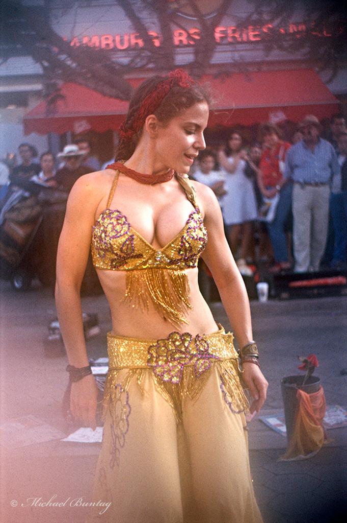 Gypsy Belly Dancer, Third (3rd) Street Promenade, Santa Monica, California; Kodak E200 35mm Positive Slide film
