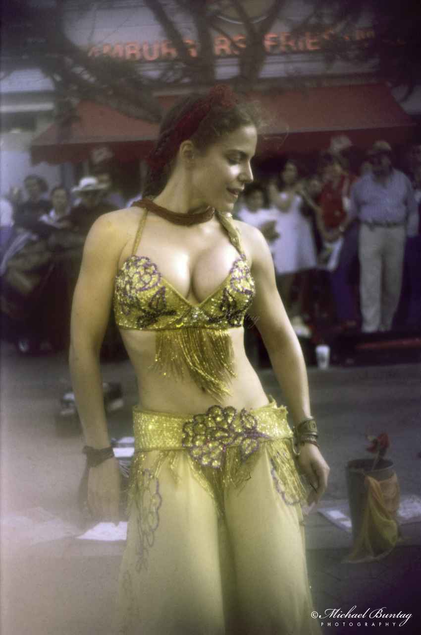 Gypsy Dancer, 3rd Third Street Promenade, Santa Monica, California. kodak E200 35 mm positive, scanned 3200 ppi, manual levels, auto curve. Above medium exposure.