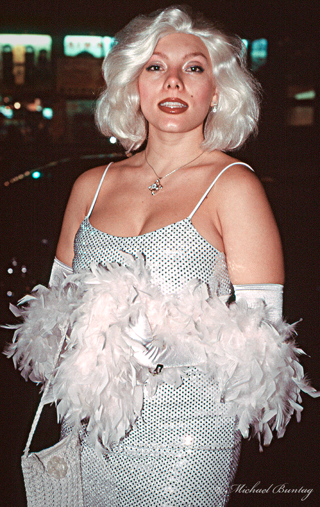 Marilyn Monroe Cosplay, Grauman's Chinese Theatre, Hollywood, Los Angeles, California. Kodak e200 35mm Color Reversal Slide film.