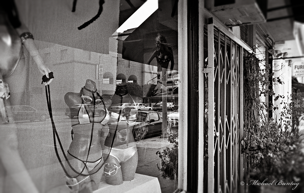 Swimsuit Store neighbor of Trashy Lingerie, Los Angeles, California. Ilford HP5+ 35mm BW film.