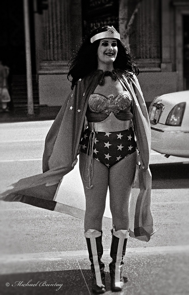 Wonder Woman Cosplay, Grauman's Chinese Theatre, Hollywood, Los Angeles, California. Ilford Delta 3200 35mm BW film.