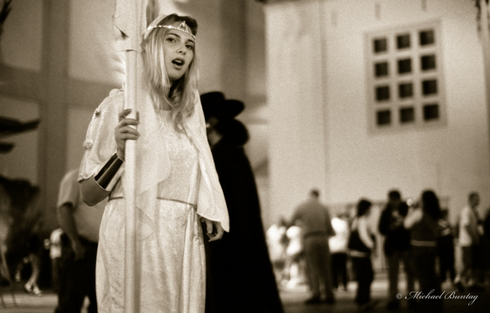Cosplayer, Grauman's Chinese Theatre, Hollywood, Los Angeles, California. Fujifilm Neopan 1600 35 mm Black and White film.