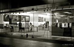 Apple Store, (3rd) Third Street Promenade, Santa Monica, Los Angeles, California. Fujifilm Neopan 1600 35 mm BW film.