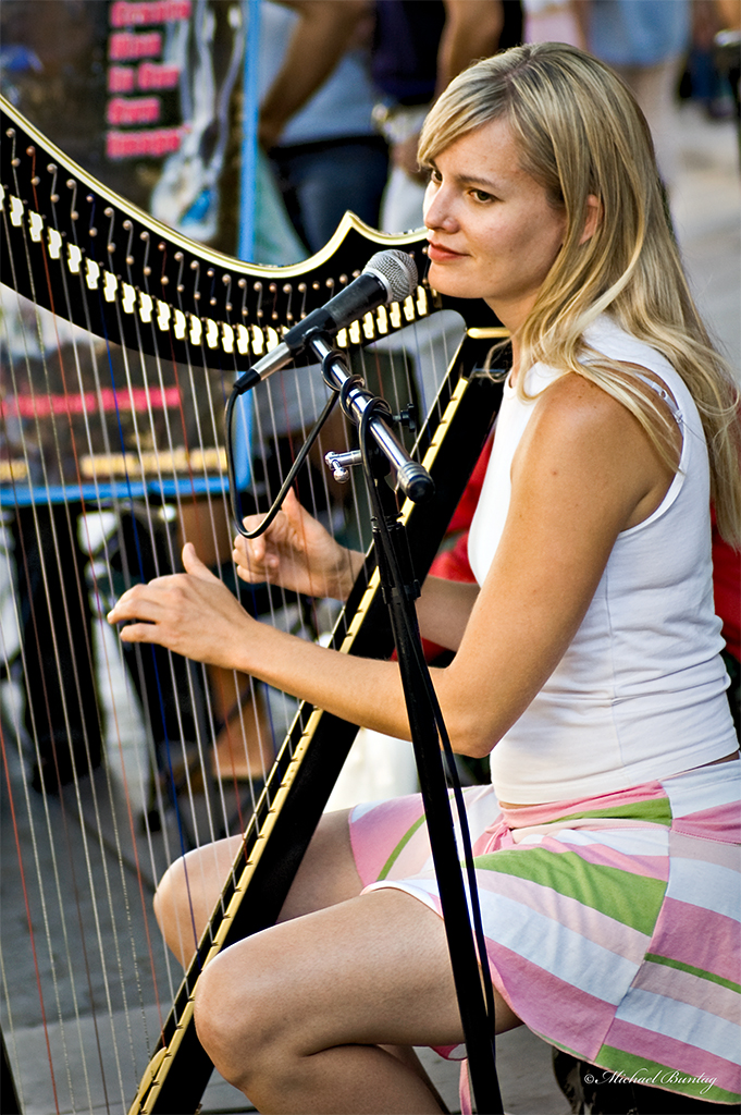 Harpist, Third Street Promenade, Santa Monica, Los Angeles, California