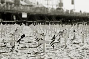 Arlington West memorial, Santa Monica Beach and Pier, Los Angeles, California
