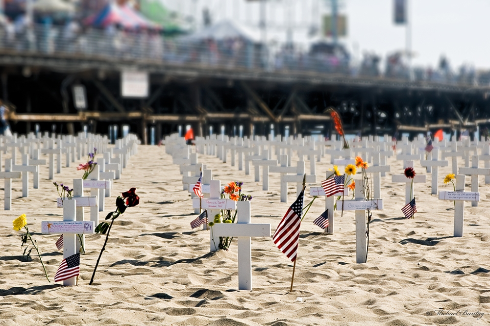 Arlington West memorial, Santa Monica Beach and Pier, Los Angeles, California