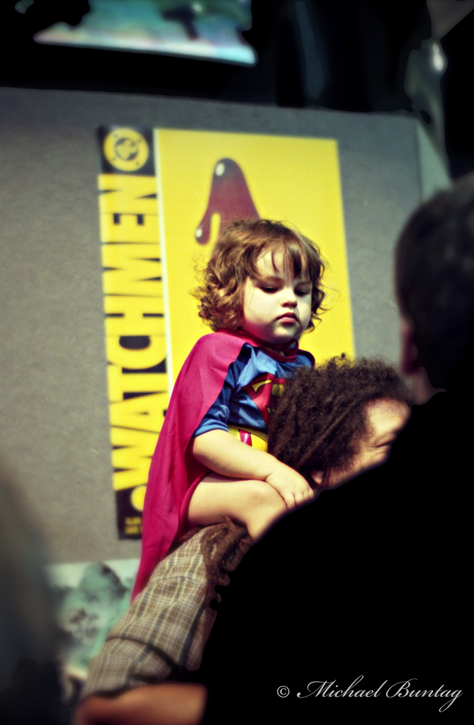 Supergirl Cosplay. Comic-Con International 2000, Convention Center, San Diego, California. Fujifilm NHG II 800 35 mm C-41 Color Negative Film.