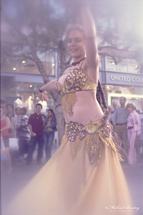 Gypsy Dancer, 3rd Third Street Promenade, Santa Monica, California. Kodak E200 35 mm positive film.