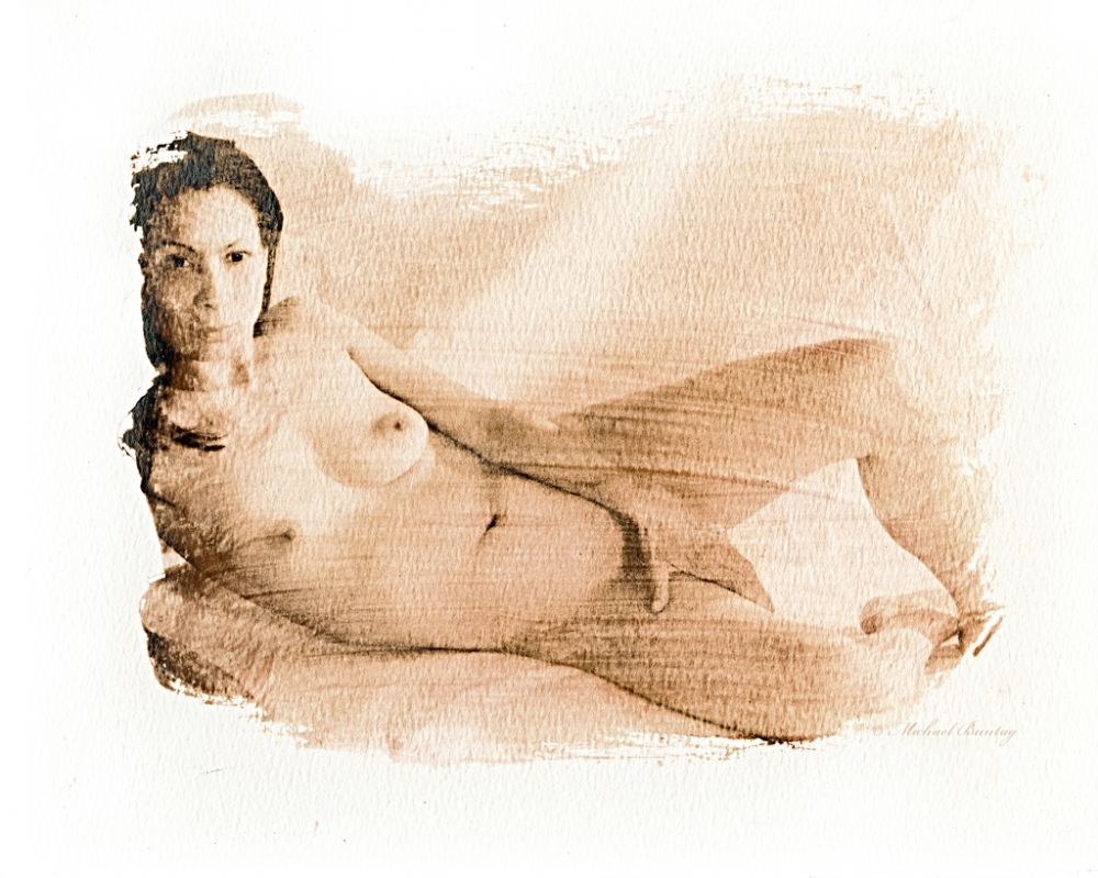 Nude Studio Session, Bolton Hill, Baltimore, Maryland. Liquid Emulsion Print.