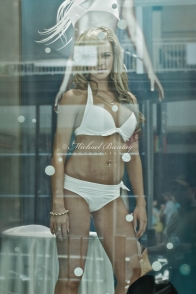 Living model mannequin, store window display, Queen Street Mall, CBD, Brisbane, Queensland
