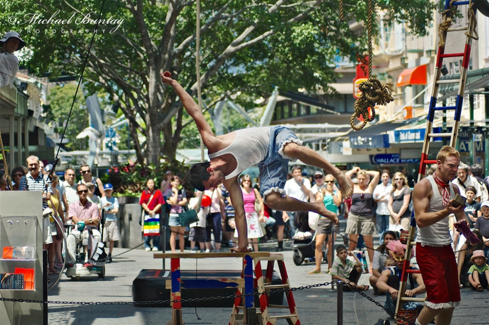 Street Acrobats, Queen Street Mall, CBD, Brisbane, Queensland
