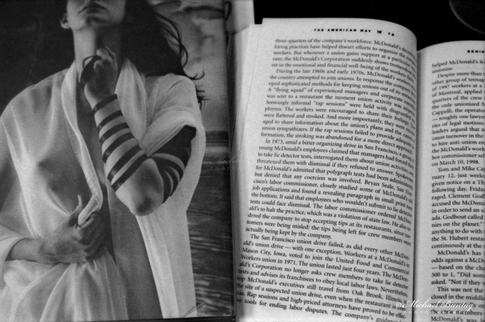 Shekhina by Leonard Nimoy, Fast Food Nation by Eric Schlosser, Barnes & Noble, 3rd Third Street Promenade, Santa Monica, Los Angeles, California. Fujifilm Neopan 1600 BW negative 35mm film.