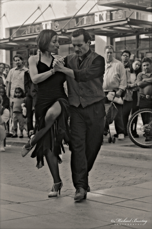 Argentine Tango Dancers, 3rd Third Street Promenade, Santa Monica, Los Angeles, California. Fujifilm Neopan 400 35mm BW film negative.
