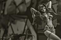 Faye Valentine, Cowboy Bebop PVC Figures, Comic-Con International, San Diego Convention Center, Marina District, San Diego, California. Ilford HP5+ Black and White 35mm negative film. Ilford HP5+ Black and White 35mm negative film.