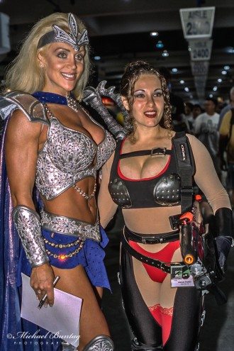 Cosplayers, Comic-Con International, San Diego Convention Center, Marina District, San Diego, California. Kodak Kodacolor Gold 400 GC Color Negative c-41 Film ISO 400, 35mm. Sunpak 4000AF Flash.