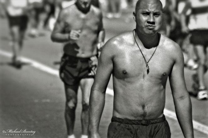 Los Angeles Marathon, Wilshire Boulevard, Los Angeles, California. Ilford HP5+ 400 35mm Negative BW Film.
