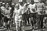 Los Angeles Marathon, Wilshire Boulevard, Los Angeles, California. Ilford HP5+ 400 35mm Negative BW Film.