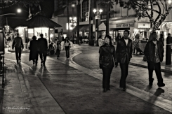 Pedestrians, 3rd Third Street Promenade, Santa Monica, Los Angeles, California. Fujifilm Neopan 1600 BW 35mm negative film.