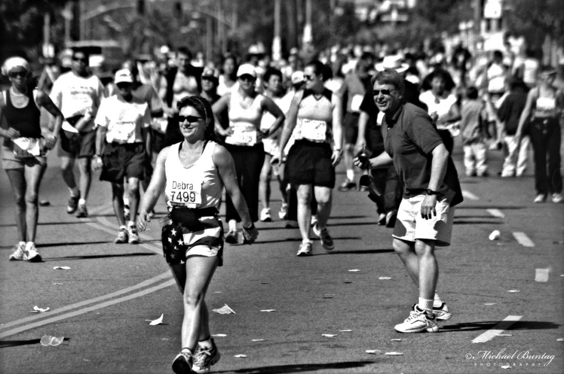 Los Angeles Marathon, Wilshire Boulevard, Los Angeles, California Ilford HP5+ 400 35mm Negative BW Film.