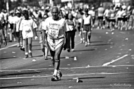Los Angeles Marathon, Wilshire Boulevard, Los Angeles, California Ilford HP5+ 400 35mm Negative BW Film.