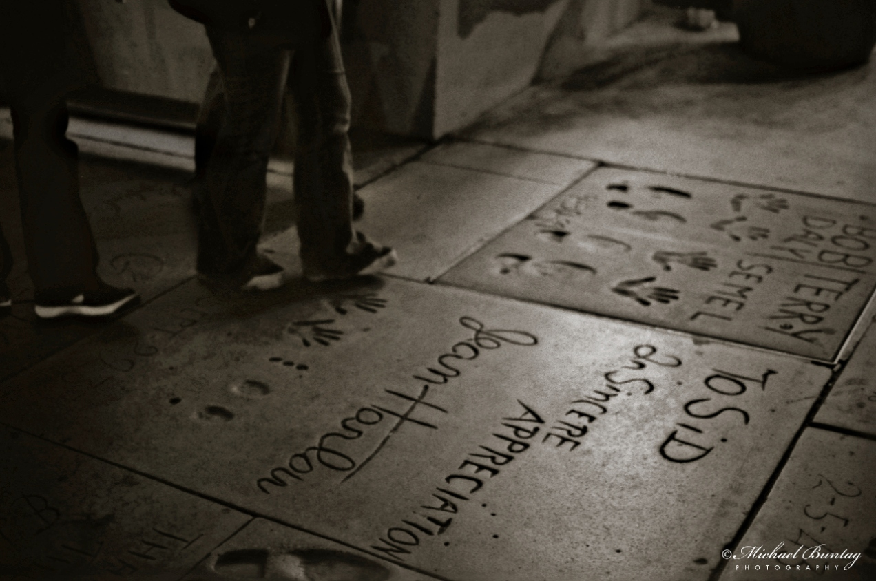 Grauman's Chinese Theatre, Hollywood Boulevard and Highland Avenue, Los Angeles, California. Fujifilm Neopan 1600 35mm BW film.