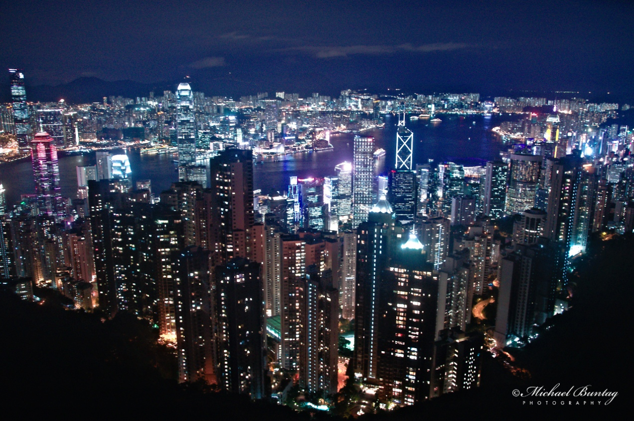 Skyline, Sky Terrace, Peak Tower, 128 Peak Rd, The Peak, Hong Kong.
