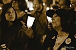 Code Pink Anti-War Prayer Vigil, 3rd Third Street Promenade, Santa Monica, Los Angeles, California. Fujifilm Neopan 1600 BW negative 35mm film.