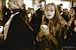 Christie Brinkley, Code Pink Anti-War Prayer Vigil, 3rd Third Street Promenade, Santa Monica, Los Angeles, California. Fujifilm Neopan 1600 BW negative 35mm film.