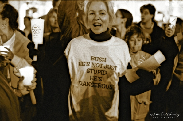 Christie Brinkley, Code Pink Anti-War Prayer Vigil, 3rd Third Street Promenade, Santa Monica, Los Angeles, California. Fujifilm Neopan 1600 BW negative 35mm film.