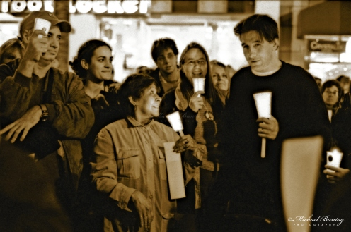 William Baldwin, Code Pink Anti-War Prayer Vigil, 3rd Third Street Promenade, Santa Monica, Los Angeles, California. Fujifilm Neopan 1600 BW negative 35mm film.