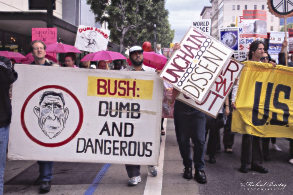 Anti-War March and Rally, West Hollywood, Los Angeles, California. Fujifilm color positive 35mm film.
