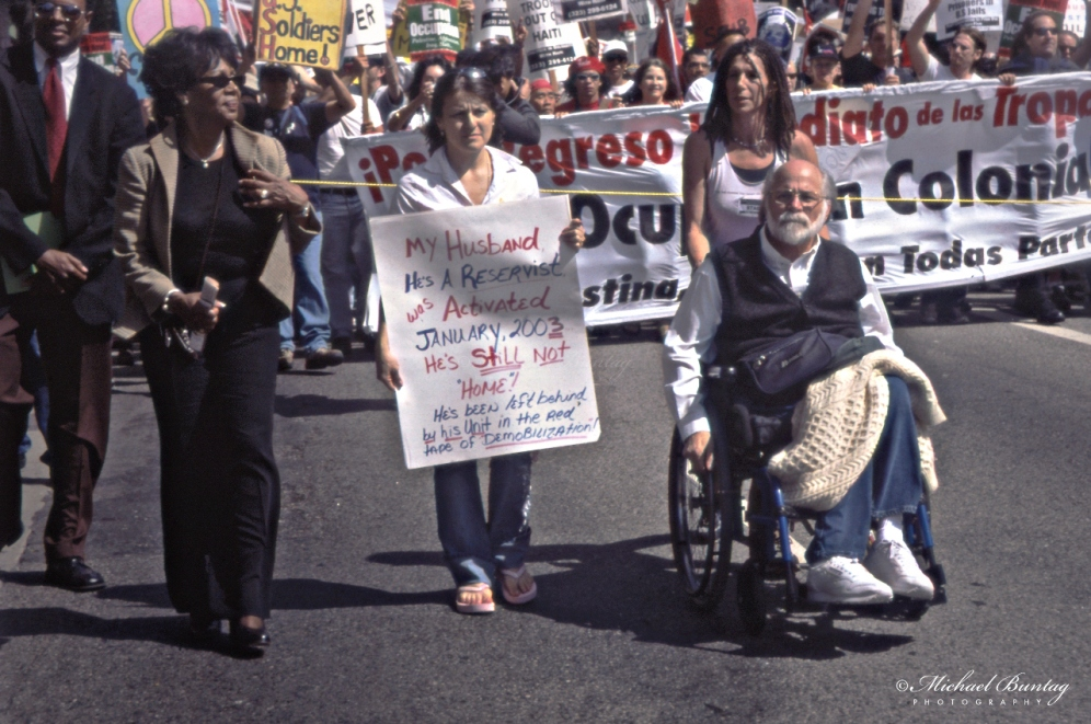 Maxine Waters, Ron Kovic, Anti-War March and Rally, West Hollywood, Los Angeles, California. Fujifilm Provia 400F RHPIII color positive 35mm film.