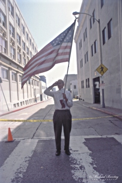 Anti-War March and Rally, West Hollywood, Los Angeles, California. Fujifilm Provia 400F RHPIII color positive 35mm film.