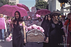 Code Pink, Anti-War March and Rally, West Hollywood, Los Angeles, California. Fujifilm Provia 400F RHPIII color positive 35mm film.