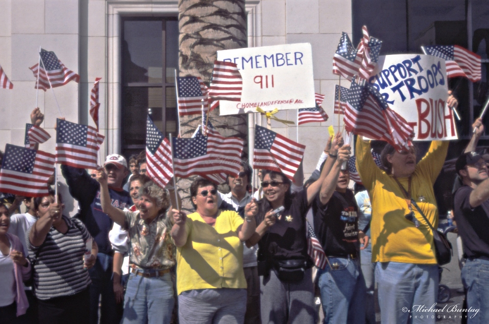 Anti-War March and Rally, West Hollywood, Los Angeles, California. Fujifilm Provia 400F RHPIII color positive 35mm film.