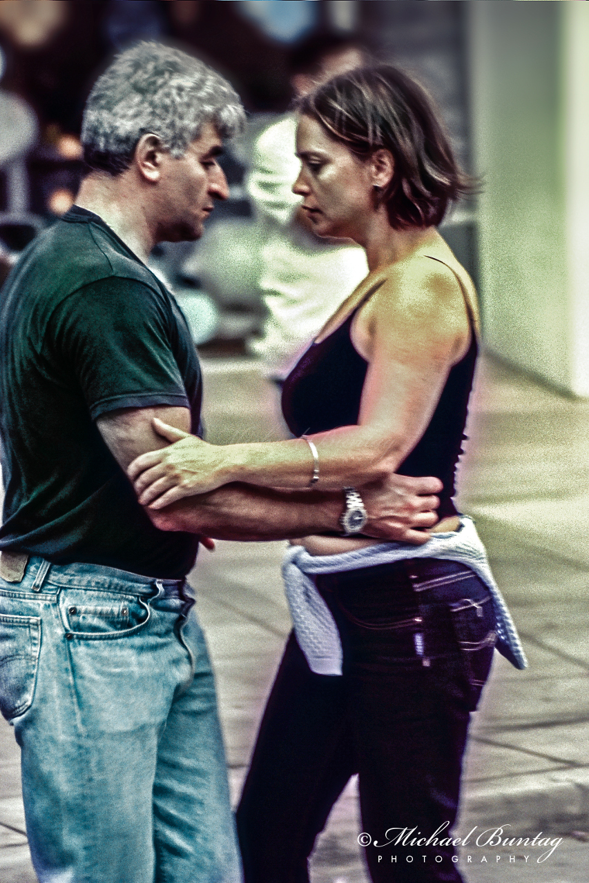 Argentine Tango Dancers, 3rd Third Street Promenade, Santa Monica, Los Angeles, California. Fujifilm RA Sensia 100 color positive slide 35mm film. Cross processed.