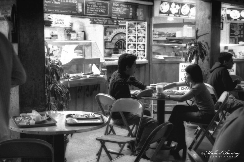 The Grove at Farmer's Market, Fairfax District, Los Angeles, California. Fujifilm Neopan 1600 BW negative 35mm film.