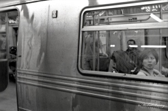 Subway, Manhattan, New York, New York. Ilford HP5+ BW negative 35mm film.