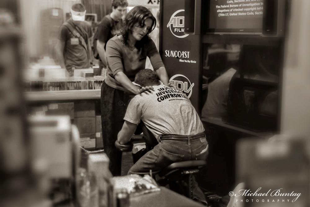A Friend in Knead, Comic-Con International, San Diego Convention Center, Marina District, San Diego, California. Ilford HP5+ Black and White 35mm negative film.