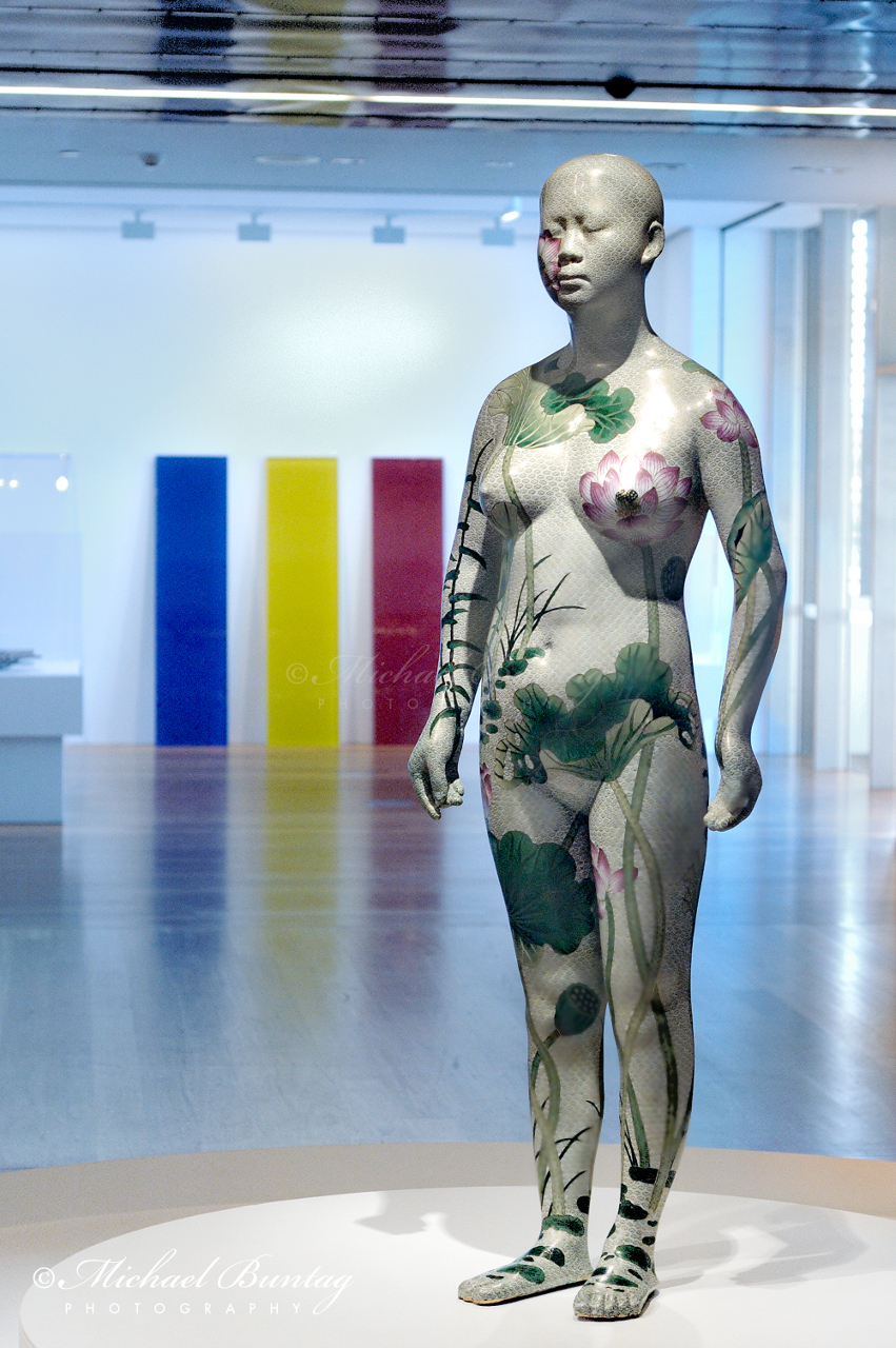 Ah Xian Human Human - Lotus, CloisonnŽ Figure 1, Queensland Art Gallery and Gallery of Modern Art, Cultural Centre, Parklands, South Bank, Brisbane, Queensland
