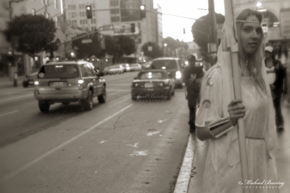 Grauman's Chinese Theatre, Hollywood Boulevard and Highland Avenue, Los Angeles, California. Fujifilm Neopan 1600 35mm BW film.