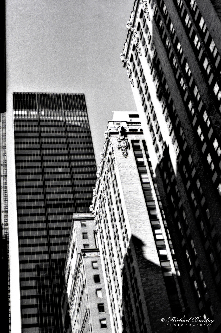 Skyline, Manhattan, New York, New York. Shot 4/28/01. Ilford HP5+ BW negative 35mm film.