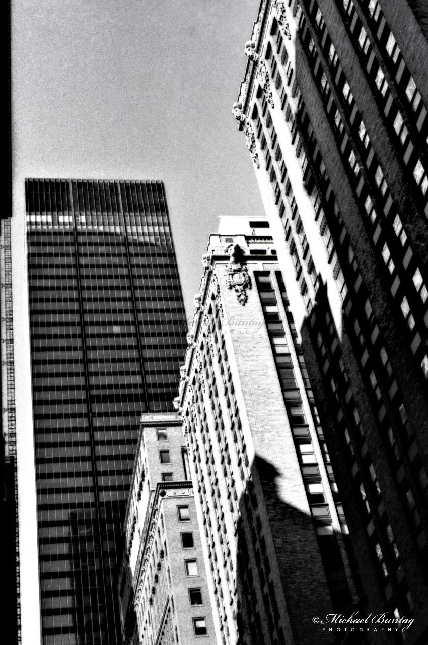 Skyline, Manhattan, New York, New York. Shot 4/28/01. Ilford HP5+ BW negative 35mm film.
