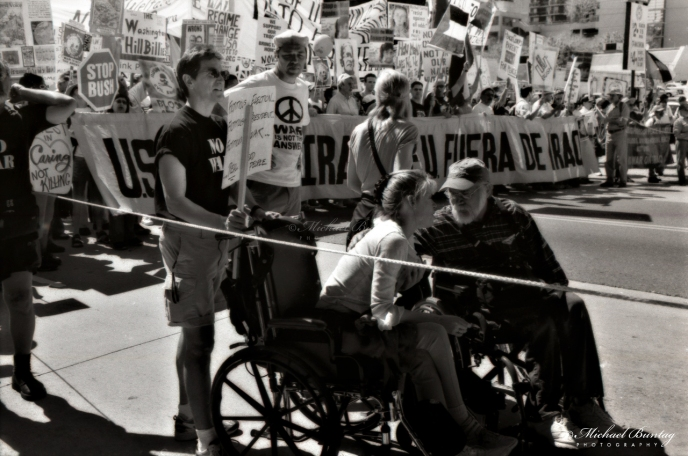Ron Kovic, Anti-War March and Rally, Los Angeles, California. Ilford FP4+ Black and White negative 35mm film.